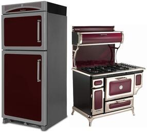 "3-Piece Cranberry Kitchen Package with HCTMR20LCRN 30"" Top Freezer Refrigerator, 720000GCRN 48"" Freestanding Gas Range, and HCTTDWCRN 24"" Fully Integrated Dishwasher"