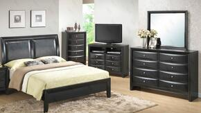 G1500AKBCHDMTV 5 Piece Set including  King Size Bed, Chest, Dresser, Mirror and Media Chest  in Black