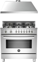 "Professional 2-Piece Stainless Steel Kitchen package with PRO366DFSXLP 36"" Freestanding Liquid Propane Range and KU36PRO1XV 36"" 400 CFM Range Hood"