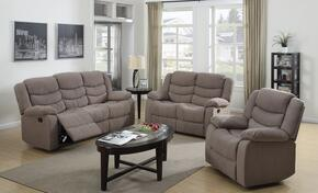 Jacinta 51415SLR 3 PC Living Room Set with Sofa + Loveseat + Recliner in Light Brown Color