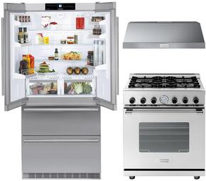 "3 Piece Kitchen Package With CBS2062 36"" French Door Refrigerator, RN301GCSS 30"" Gas Freestanding Range and HP301BSS 30"" Range Hood in Stainless Steel"