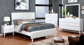 Lennart II Collection CM7387WHCKBEDSET 5 PC Bedroom Set with California King Size Panel Bed + Dresser + Mirror + Chest + Nightstand in White Finish