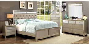 Briella Collection CM7101KBDMCN 5-Piece Bedroom Set with King Bed, Dresser, Mirror, Chest and Nightstand in Silver Finish