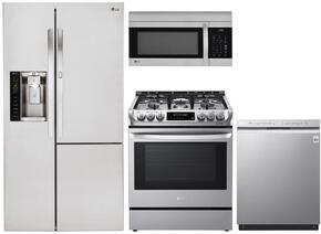 LG Side-by-Side Door-in-Door Refrigerator, Electric Range, Microwave and Front-Control Quad-Wash Dishwasher - Stainless Steel