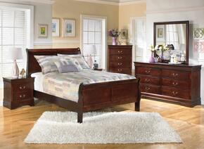 Huerta Collection Full Bedroom Set with Sleigh Bed, Dresser, Mirror and Nightstand in Dark Brown