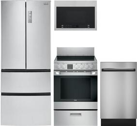 "4-Piece Kitchen Package with HRF15N3AGS 28"" French Door Refrigerator, HCR2250AES 24"" Electric Freestanding Range, QDT125SSKSS  18"" Built In Dishwasher and  HMV1472BHS 17"" Over the Range Microwave Oven in Stainless Steel"
