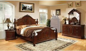 Bellavista Collection CM7350HKBDMCN 5-Piece Bedroom Set with King Bed, Dresser, Mirror, Chest, and Nightstand in Rustic Natural Tone Finish