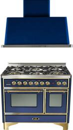"2-Piece Midnight Blue Kitchen Package with UMD1006DMPBL 40"" Freestanding Dual Fuel Range (Brass Trim, 6 Burners, Timer) and UAM100BL 40"" Wall Mount Range Hood"