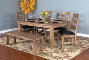 Puebla Collection 1140DWDT4C 5-Piece Dining Room Set with Dining Table and 4 Chairs in Drift Wood Finish
