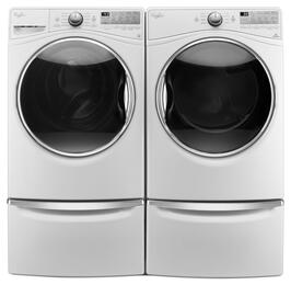 "White Front Load Laundry Pair with WFW92HEFW 27"" Washer, WED92HEFW 27"" Electric Dryer and 2 XHPC155XW Pedestals"