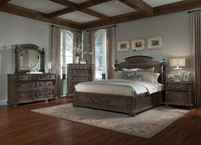 980066DMCNS Versailles King Size Bed + Dresser + Mirror + Chest + Nightstand with Decorative Wood Carvings, Carved Bun Feet, Turned Posts, Rubberwood Solids and Birch Veneers in Normandie Finish