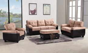 G908ASET 4 PC Living Room Set with Sofa + Loveseat + Armchair + Ottoman in Mocha Color