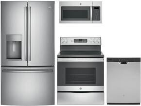 "4-Piece Stainless Steel Kitchen Package with GFE28GSKSS 36"" French Door Refrigerator, JB655SKSS 30"" Freestanding Electric Range, JVM6175SKSS 30"" Over the Range Microwave, and GDF610PSJSS 24"" Full Console Dishwasher"