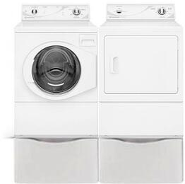 "White Front Load Laundry Pair with AFN50RSP 27"" Front Load Washer, ADE3SRGS 27"" Electric Dryer and 2 PDR108W Pedestals"