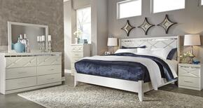 Strickland Collection King Bedroom Set with Panel Bed, Dresser, Mirror, Chest and 2 Nightstands in Champagne