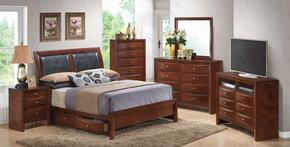 1550DKSB2SET 6 PC Bedroom Set with King Size Storage Bed + Dresser + Mirror + Chest + Nightstand + Media Chest in Cherry Finish