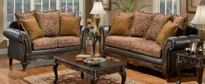 726300-SL Arlene Two Piece Living Room Set, Sofa + Loveseat with Fabric Upholstery in Bi-cast Brown