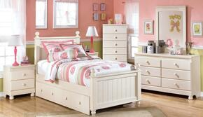 Cottage Retreat Queen Bedroom Set with Poster Bed, Dresser, Mirror and Nightstand in Cream