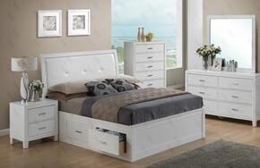 G1275BTSBDMN 4 Piece Set including Twin Size Bed, Dresser, Mirror and Nightstand  in White