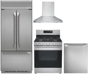 "4-Piece Professional Stainless Steel Kitchen Package with ZIPP360NHSS 36"" French Door Refrigerator, ZGP304LRSS 30"" Liquid Propane Range, ZV30HSRSS 30"" Range Hood and ZDT915SPJSS 24"" Fully Integrated Dishwasher"