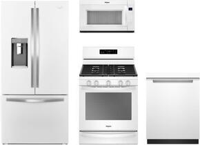 "4-Piece White Ice Kitchen Package with WRF992FIFH 36"" French Door Refrigerator, WFG775H0HW 30"" Freestanding Gas Range, WMH53521HW 30"" Over the Range Microwave, and WDTA50SAHW 24"" Fully Integrated Dishwasher"