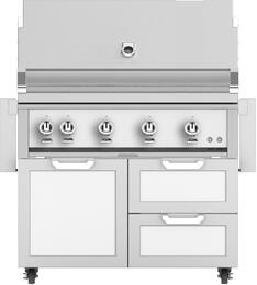 """42"""" Freestanding Liquid Propane Grill with GCR42WH Tower Grill Cart with Double Drawer and Door Combo, in Froth White"""