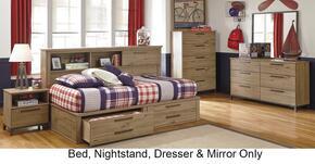 Dexifield 4-Piece Bedroom Set with Full Size Bookcase Bed, Dresser, Mirror and Nightstand Beige Brown