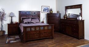 Santa Fe Collection 2322DCCKBDMN 4-Piece Bedroom Set with California King Bed, Dresser, Mirror and Nightstand in Dark Chocolate Finish