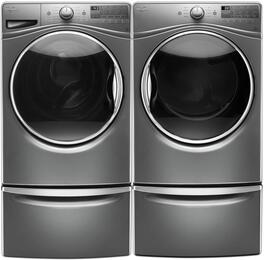 "Chrome Shadow WFW9290FC 27"" Front Load Washer with WGD92HEFC 27"" Gas Dryer and 2 XHPC155YC Pedestals"