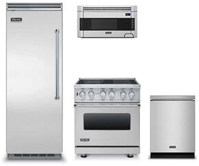 "4-Piece Kitchen Package with VCRB5303LSS 30"" Built In All Refrigerator, VESC5304BSS 30"" Electric Freestanding Range, RVDW103SS 24"" Built In Dishwasher and  RVMH330SS 30"" Over The Range Microwave Oven in Stainless Steel"