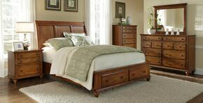 Hayden Place Collection 5 Piece Bedroom Set With Queen Size Storage Sleigh Bed + 2 Nightstands + Dresser + Mirror: Oak