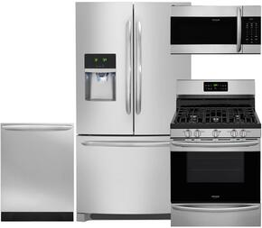 "Gallery 4-Piece Stainless Steel Kitchen Package with FGHB2867TF 36"" French Door Refrigerator, FGGF3036TF 30"" Freestanding Gas Range, FGID2466QF 24"" Fully Integrated Dishwasher and FGMV176NTF 30"" Over-the-Range Microwave"