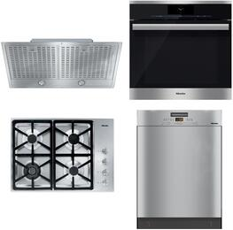 """4-Piece Stainless Steel Kitchen Package with KM3464LP 30"""" Liquid Propane Cooktop, DGC6860XXL 30"""" Single Wall Oven, DA2580 30"""" Cabinet Insert Hood, and G5105SCSS 24""""  Full Console Dishwasher"""