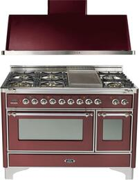 "2-Piece Burgundy Kitchen Package with UM120FDMPRBX 48"" Freestanding Dual Fuel Range (Chrome Trim, 6 Burners, Griddle) and UAM120RB 48"" Wall Mount Range Hood"