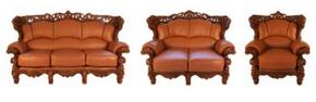 2189BROWNS3SET Traditional Style Sofa in Brown with Mahogany Wood Finish + Loveseat + Chair