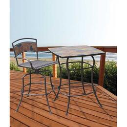 DM-1340-ABS Rock Canyon Bar Table + Bar Stool with Wrought Iron Powder Coated Frame and Natural Slate Mosaic Table-Top