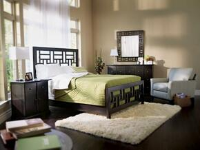 Perspectives Lattice Collection 4 Piece Bedroom Set With King Size Panel Bed + 1 Nightstands + Dresser + Mirror: Graphite