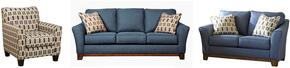 Janley 43807SLAC 3-Piece Living Room Set with Sofa, Loveseat and Accent Chair in Denim