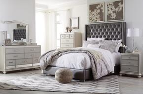 Coralayne Collection California King Bedroom Set with Panel Bed, Dresser, Mirror, 2x Nightstands and Chest in Gray