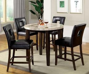 Lisbon II Collection CM3693RPT4PC 5-Piece Dining Room Set with Round Counter Height Table and 4 Counter Height Side Chairs in Dark Walnut
