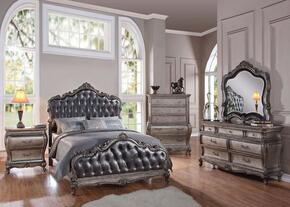 Chantelle 20537EK6PCSET Bedroom Set with Eastern King Size Bed + Dresser + Mirror + Chest + 2 Nightstand in Antique Platinum and Silver Grey Finish