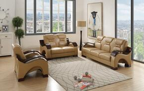 G481SET 3 PC Living Room Set with Sofa + Loveseat + Armchair in Light Brown Color