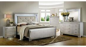 Bellanova Collection CM7979SVQBDMCN 5-Piece Bedroom Set with Queen Bed, Dresser, Mirror, Chest and Nightstand in Silver Finish