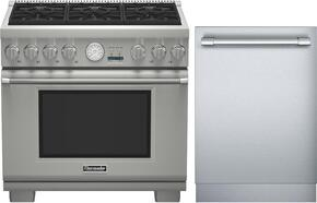 "PRG366JG 36"" Freestanding Natural Gas Range and DWHD440MFP 24"" Fully Integrated Dishwasher"