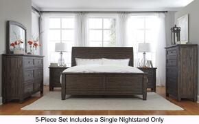 Trudell King Bedroom Set with Panel Bed, Dresser, Mirror, Single Nightstand and Chest in Dark Brown
