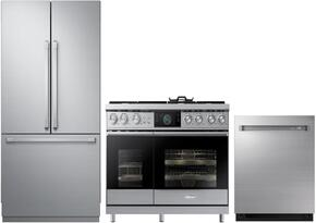 "3-Piece Stainless Steel Kitchen Package with DRF367500AP 36"" French Door Refrigerator, DOP48M96DAS 48"" Freestanding Gas Range, and RDW24S 24"" Fully Integrated Dishwasher"