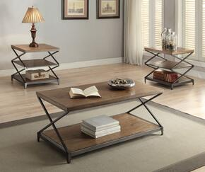 Fabio 80445CE 3 PC Living Room Table Set with Coffee Table + 2 End Tables in Oak Finish