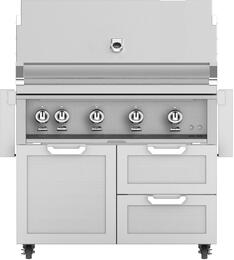 "42"" Freestanding Liquid Propane Grill with GCR42 Tower Grill Cart with Double Drawer and Door Combo, in Steeletto Stainless Steel"
