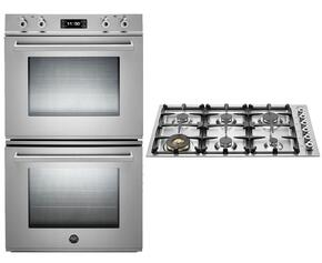"Professional 2-Piece Stainless Steel Kitchen Package with FD30PROXT 30"" Double Electric Wall Oven and QB36600X 36"" Gas Cooktop"