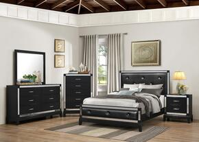 1003-6652/68SK City Lights Bedroom Set King, Dresser, Mirror, Chest and Nightstand Bed with Button Tufting, Tapered Legs and Molding Detail in Onyx